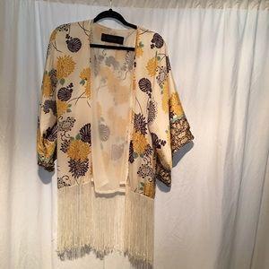 Zara Basic Floral fringe Kimono Multicolored SZ S